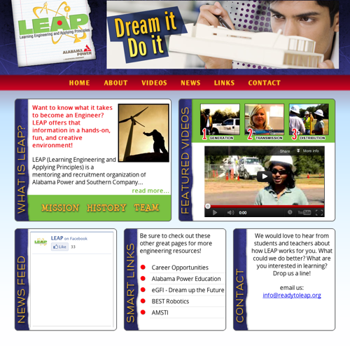 Snapshot of ReadyToLeap.org Website