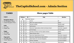 the capitol school website admin area